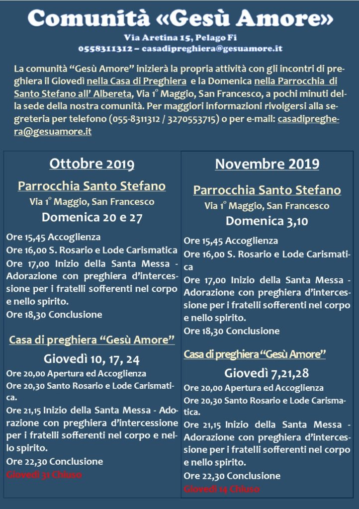 programma ottobre novembre 2